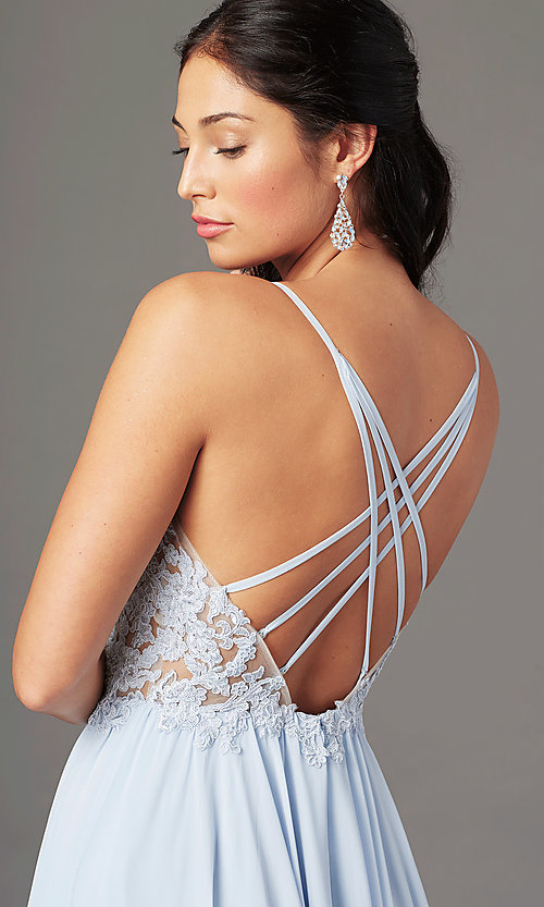 Image of PromGirl long prom dress with double-slit skirt. Style: PG-F2014 Detail Image 1