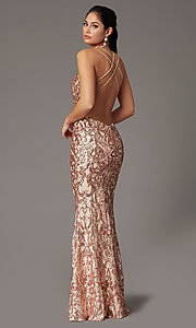 Image of long sequin open-back prom dress by PromGirl. Style: PG-F2021 Back Image