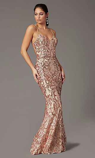 Long Sequin Open-Back Prom Dress by PromGirl