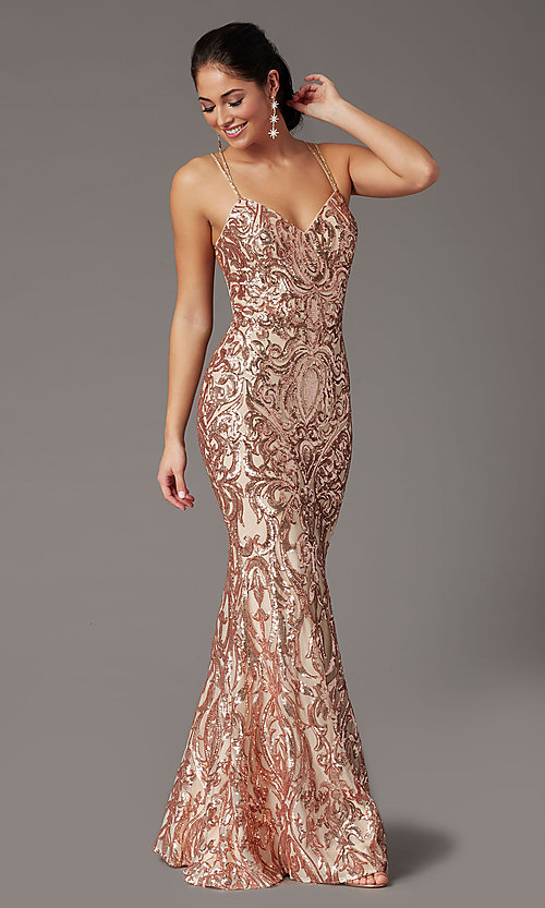 Image of long sequin open-back prom dress by PromGirl. Style: PG-F2021 Detail Image 1