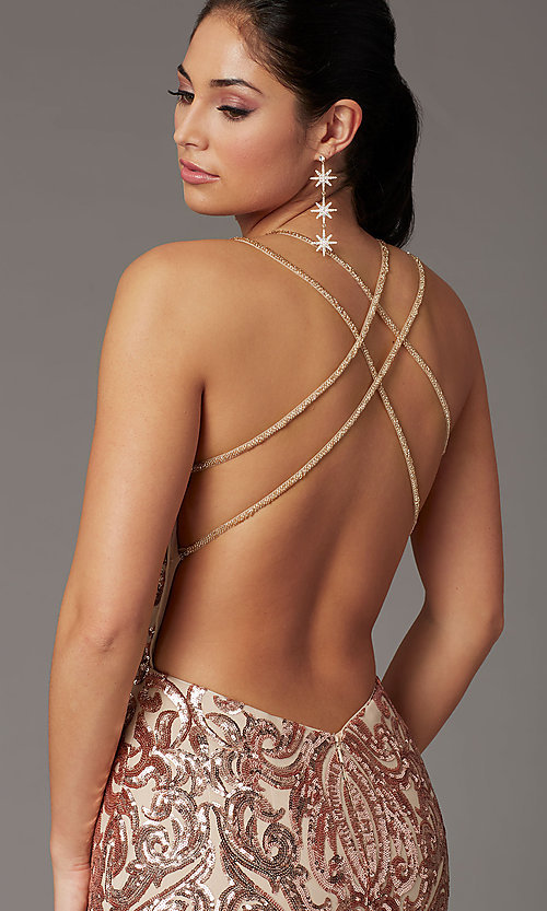 Image of long sequin open-back prom dress by PromGirl. Style: PG-F2021 Detail Image 2
