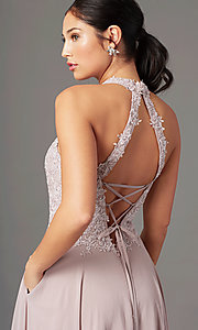 Image of high-neck PromGirl prom dress with pockets. Style: PG-F2034 Detail Image 5