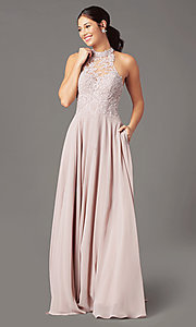 Image of high-neck PromGirl prom dress with pockets. Style: PG-F2034 Detail Image 6