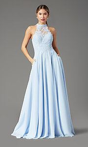 Image of high-neck PromGirl prom dress with pockets. Style: PG-F2034 Detail Image 2