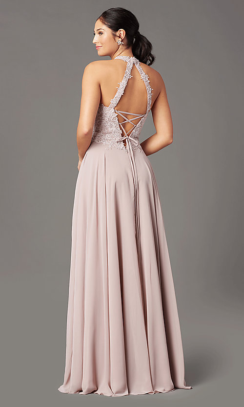 Image of high-neck PromGirl prom dress with pockets. Style: PG-F2034 Detail Image 4