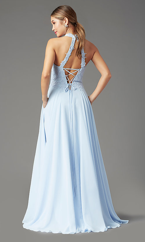 Image of high-neck PromGirl prom dress with pockets. Style: PG-F2034 Back Image