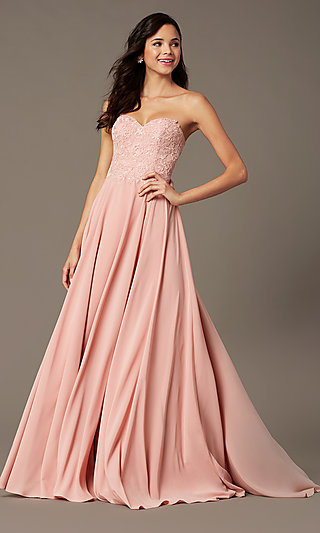 Long Strapless Sweetheart Prom Dress by PromGirl