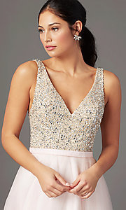 Image of PromGirl beaded-bodice long formal prom dress. Style: PG-B2022 Detail Image 1