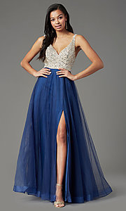 Image of PromGirl beaded-bodice long formal prom dress. Style: PG-B2022 Detail Image 3