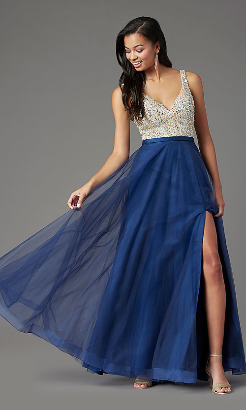 Image of PromGirl beaded-bodice long formal prom dress. Style: PG-B2022 Detail Image 6