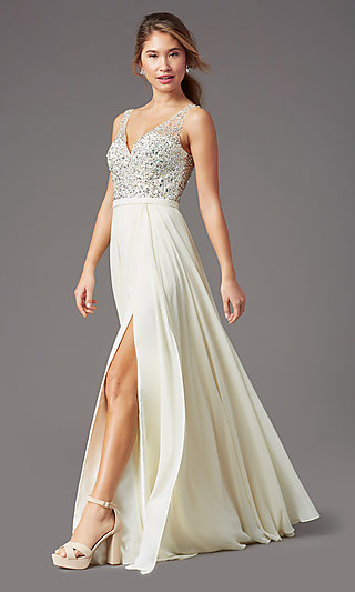 Beaded-Bodice Long Sparkly Prom Dress by PromGirl