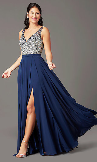 Embellished V-Neck Long Prom Dress by PromGirl