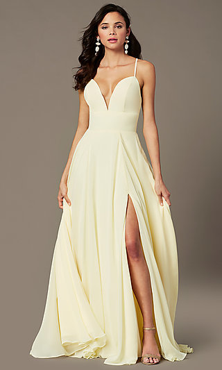 Side Slit Long A-Line V-Neck Prom Dress by PromGirl
