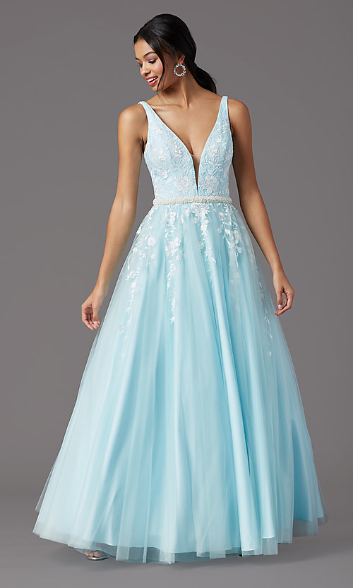 Image of long deep-v-neck prom ball gown by PromGirl. Style: PG-F2028 Detail Image 6