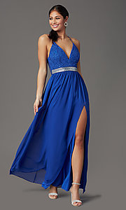 Image of cobalt blue long prom dress with glitter lace. Style: EM-ACS-3662-432 Detail Image 2