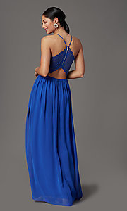 Image of cobalt blue long prom dress with glitter lace. Style: EM-ACS-3662-432 Back Image