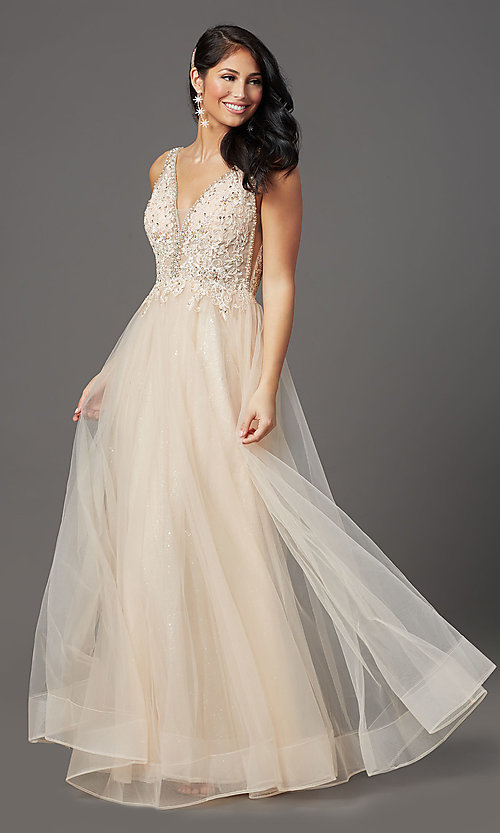 Image of sleeveless a-line long glitter prom dress. Style: SOI-W18943 Detail Image 3