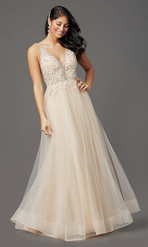 Image of sleeveless a-line long glitter prom dress. Style: SOI-W18943 Detail Image 5