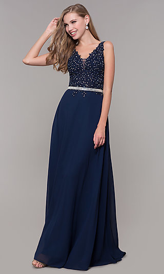 Navy Blue V-Neck Prom Dress by Elizabeth K