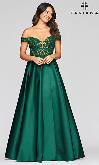 Long Off-the-Shoulder Prom Dress by Faviana