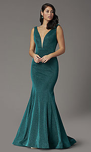 Image of metallic emerald green glitter v-neck prom dress. Style: JO-JVNX03025 Detail Image 2