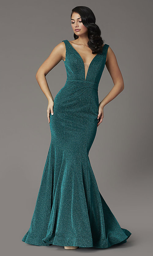 Image of metallic emerald green glitter v-neck prom dress. Style: JO-JVNX03025 Front Image