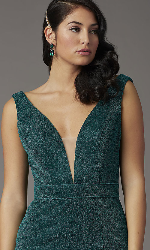 Image of metallic emerald green glitter v-neck prom dress. Style: JO-JVNX03025 Detail Image 1