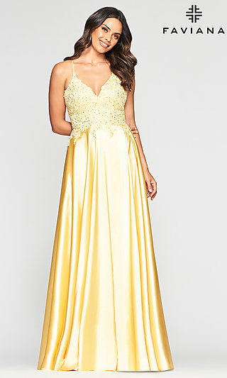 Long Flowing A-Line Prom Dress by Faviana
