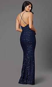 Image of long sequin navy formal prom dress by PromGirl. Style: MCR-PL-2860 Back Image