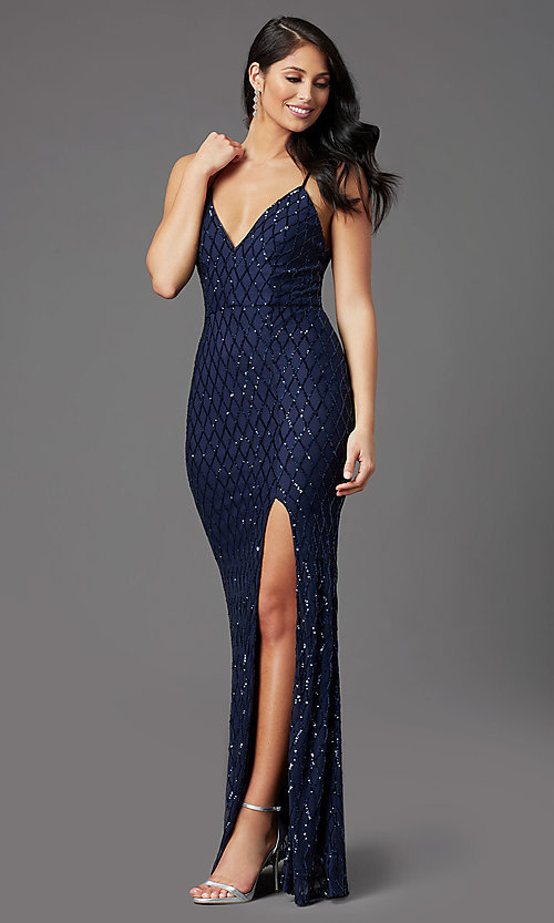 Image of long sequin navy formal prom dress by PromGirl. Style: MCR-PL-2860 Detail Image 2