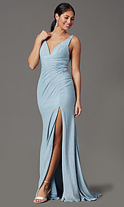Image of sparkly blue formal prom dress in glitter knit. Style: FB-GL2895-1 Front Image