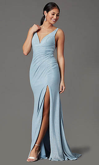 Sparkly Blue Formal Prom Dress in Glitter Knit