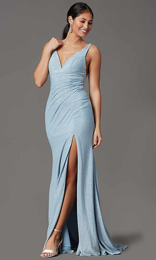 Image of sparkly blue formal prom dress in glitter knit. Style: FB-GL2895-1 Detail Image 2