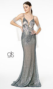 Image of long sparkly rose gold prom dress with embroidery. Style: FB-GL2929 Detail Image 3
