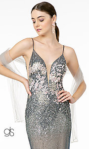 Image of long sparkly rose gold prom dress with embroidery. Style: FB-GL2929 Detail Image 5