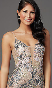 Image of long sparkly rose gold prom dress with embroidery. Style: FB-GL2929 Detail Image 1
