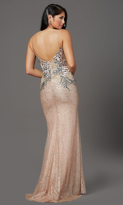 Image of long sparkly rose gold prom dress with embroidery. Style: FB-GL2929 Back Image