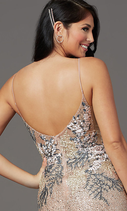 Image of long sparkly rose gold prom dress with embroidery. Style: FB-GL2929 Detail Image 2