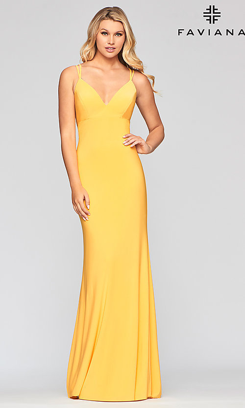 Long Fitted V-Neck Jersey Prom Dress by Faviana
