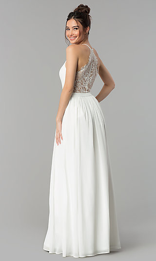Long V-Neck Prom Dress with a Sheer Lace Back