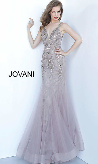 Long Taupe Beaded Mermaid-Style Prom Dress