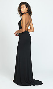 Image of open-back halter prom dress by Madison James. Style: NM-19-140 Back Image