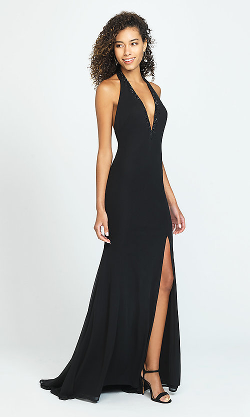 Image of open-back halter prom dress by Madison James. Style: NM-19-140 Front Image
