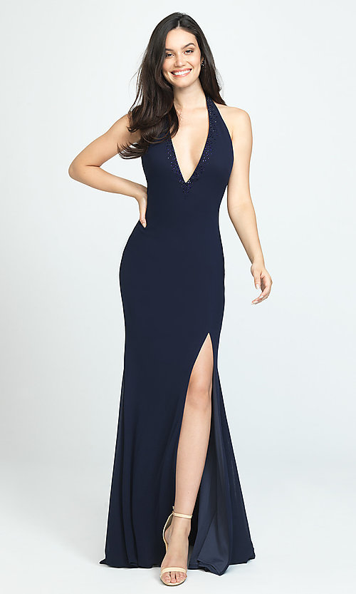 Image of open-back halter prom dress by Madison James. Style: NM-19-140 Detail Image 1