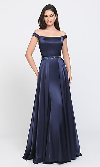 Off-the-Shoulder Prom Dress with Removable Train