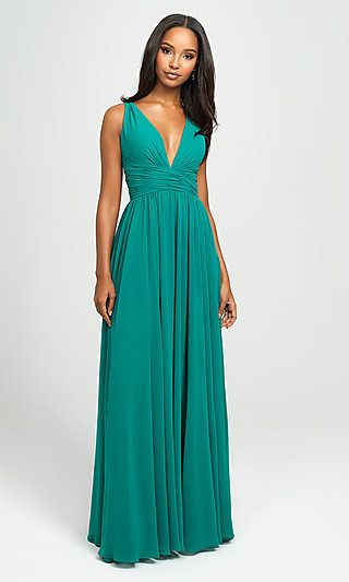 Madison James V-Neck Long Ruched Prom Dress