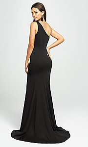 Image of long one-shoulder prom dress by Madison James. Style: NM-19-205 Back Image