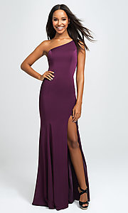 Image of long one-shoulder prom dress by Madison James. Style: NM-19-205 Front Image