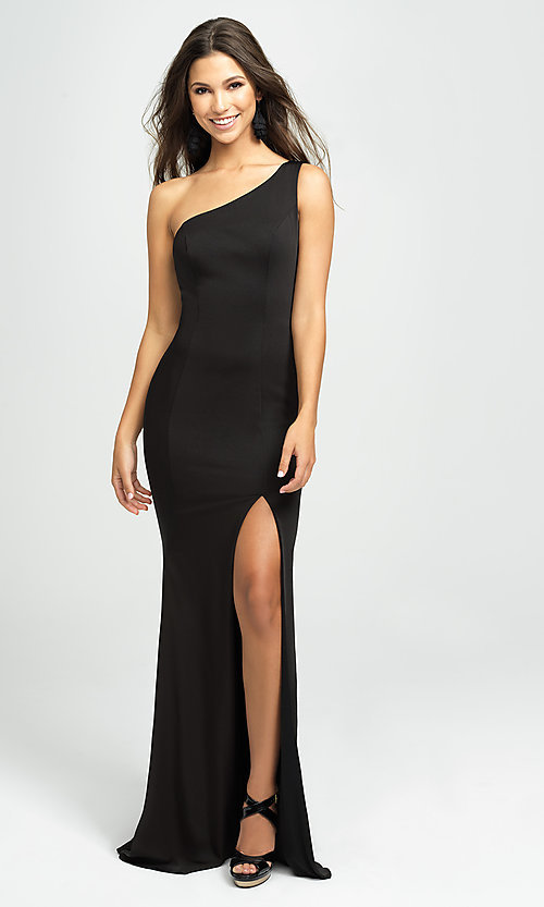 Image of long one-shoulder prom dress by Madison James. Style: NM-19-205 Detail Image 1