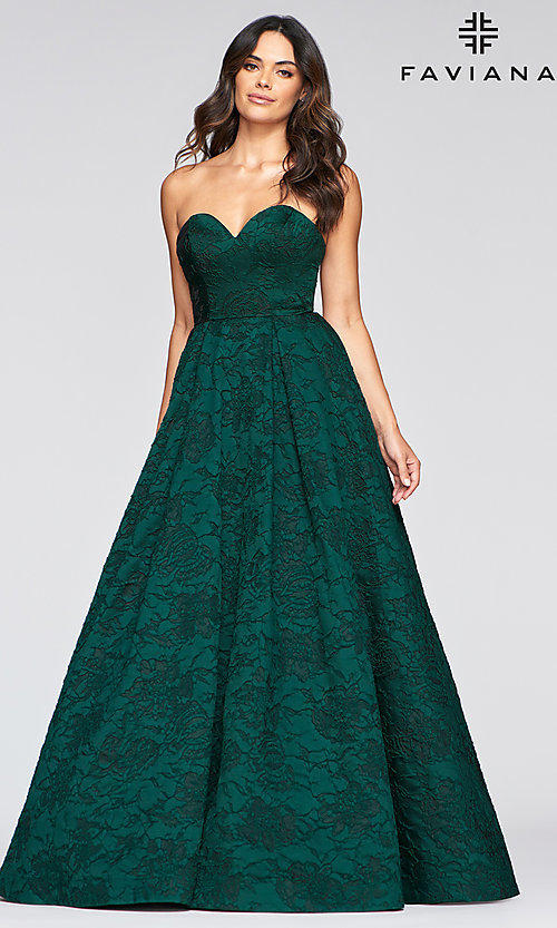 Long A-Line Green Brocade Prom Dress by Faviana